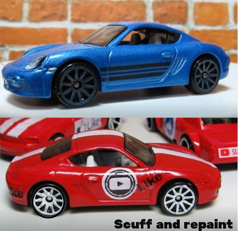 Scuff and repaint a hot wheels